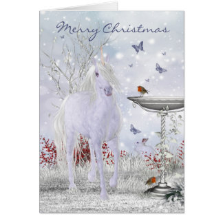 Merry Christmas Winter Unicorn, Robins Greeting Card