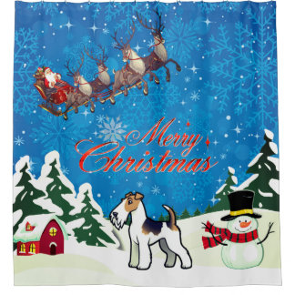 Merry Christmas Wire Fox Terrier With Santa Shower Curtain