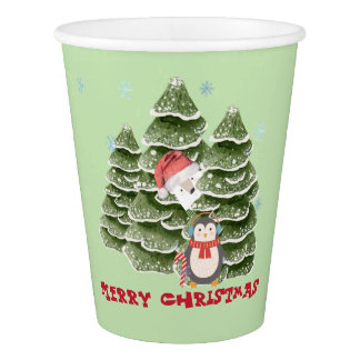 Merry Christmas With A Penguin And Polar Bear Paper Cup