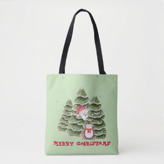 Merry Christmas With A Penguin And Polar Bear Tote Bag