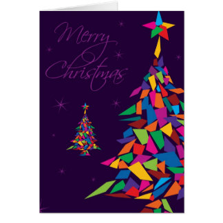Merry Christmas with colorful abstract tree Greeting Cards
