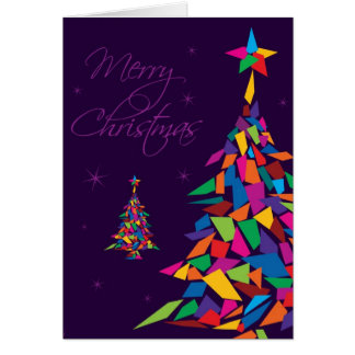 Merry Christmas with colorful abstract tree Card