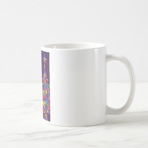 Merry Christmas with colorful abstract tree Coffee Mugs