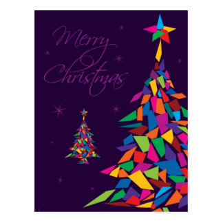 Merry Christmas with colorful abstract tree Postcard