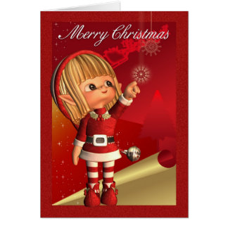 Merry Christmas With Cute Little Elf Greeting Card