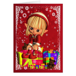 Merry Christmas With Cute Little Elf Card
