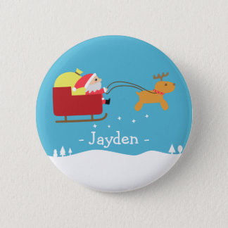 Merry Christmas with Cute Santa and Reindeer 6 Cm Round Badge