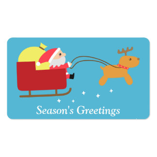Merry Christmas with Cute Santa and Reindeer Pack Of Standard Business Cards