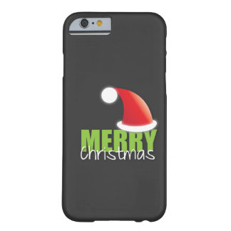 MERRY Christmas with cute santa hat Barely There iPhone 6 Case