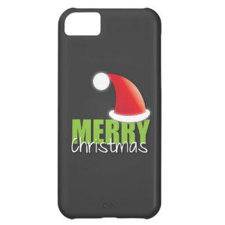 MERRY Christmas with cute santa hat iPhone 5C Case