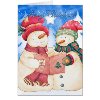 Merry Christmas With Cute Snowman And Snow woman Greeting Card