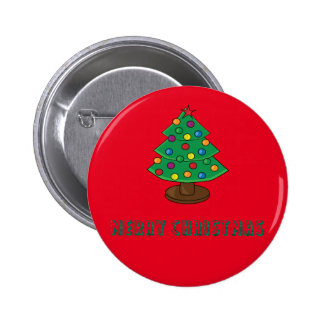 Merry Christmas with Decorated Tree 6 Cm Round Badge