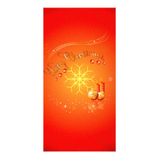 Merry Christmas with elegant gold, red background Picture Card