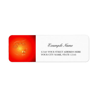 Merry Christmas with elegant gold, red background Return Address Label