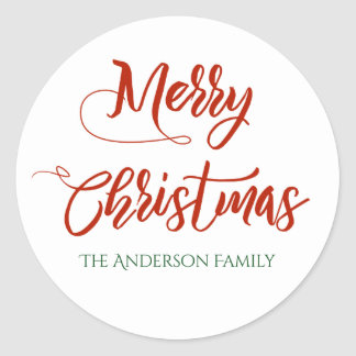 Merry Christmas with Family Name Classic Round Sticker