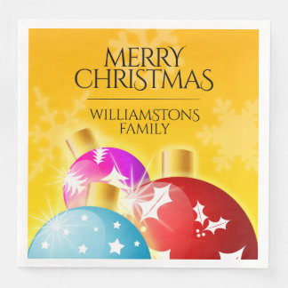 Merry Christmas with Festive Holiday Ornaments Disposable Napkins