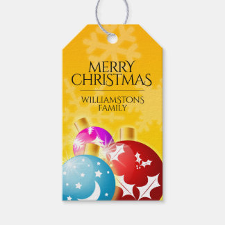 Merry Christmas with Festive Holiday Ornaments Gift Tags