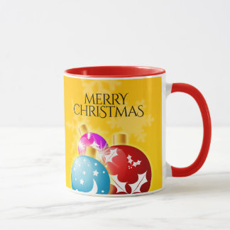 Merry Christmas with Festive Holiday Ornaments Mug