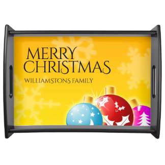 Merry Christmas with Festive Holiday Ornaments Serving Tray