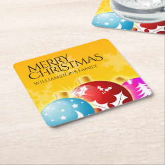 Merry Christmas with Festive Holiday Ornaments Square Paper Coaster