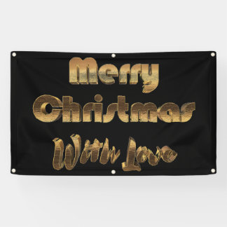 Merry Christmas with Love Gold Look Typography Banner