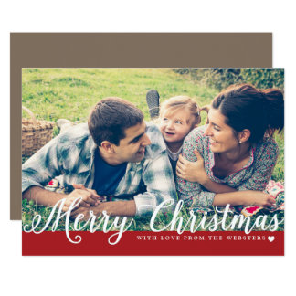 Merry Christmas with Love Photo Holiday Greeting 13 Cm X 18 Cm Invitation Card