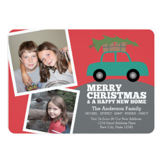 Merry Christmas with New Home Address Moving 13 Cm X 18 Cm Invitation Card