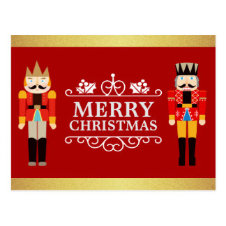 Merry Christmas with Nutcrackers Red Gold Glitter Postcard