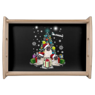 Merry Christmas with Pug Dog Animal Serving Tray