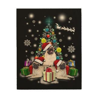 Merry Christmas with Pug Dog Animal Wood Wall Art