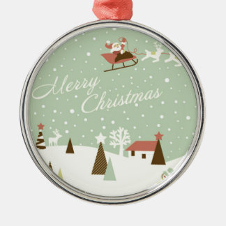 Merry Christmas with Santa Claus, Rudolfs, in snow Silver-Colored Round Decoration