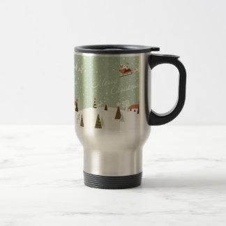 Merry Christmas with Santa Claus, Rudolfs, in snow Travel Mug