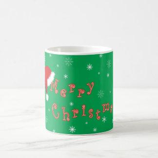 Merry Christmas with Santa Hat Basic White Mug
