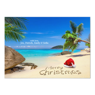 Merry Christmas With Santa Hat In The Tropics 13 Cm X 18 Cm Invitation Card