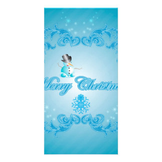 Merry christmas with snowman and decorative floral photo card