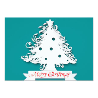 Merry Christmas with Tree Holiday 13 Cm X 18 Cm Invitation Card