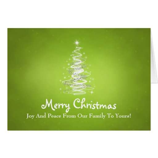 Merry Christmas with Tree sparkles in lime green Greeting Cards