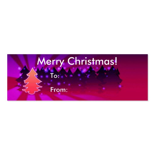 Merry Christmas With Trees Tag Business Card