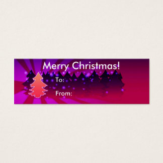 Merry Christmas With Trees Tag Mini Business Card