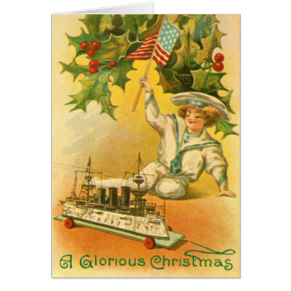 Merry Christmas with USA Flag Sailor Card