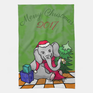 Merry Christmas with Year Santa Elephant Tea Towel