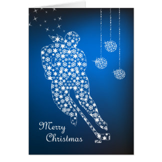 Merry Christmas Women's Hockey Snowflakes Female Card