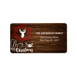 Merry Christmas wood holiday address label