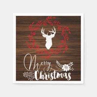 Merry Christmas wood holiday napkins Paper Napkin