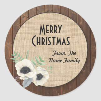 Merry Christmas Wood Rustic Flower Wreath Sticker