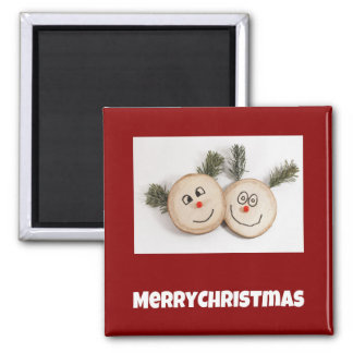 Merry Christmas wooden smiley faces Refrigerator Magnets