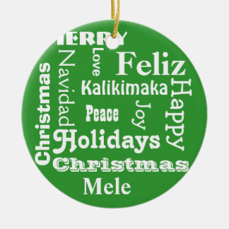 Merry Christmas Word Art Christmas Ornament