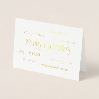 Merry Christmas Word Cloud Foil Greeting Card