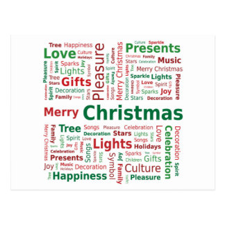 Merry Christmas Word Cloud in Green Red Colors Postcard