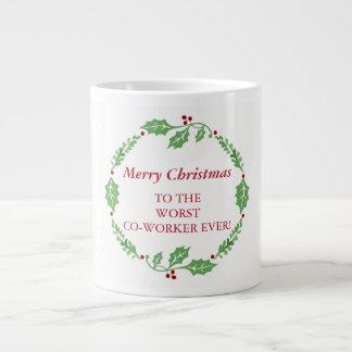 Merry Christmas Worst Co-Worker Secret Santa Large Coffee Mug